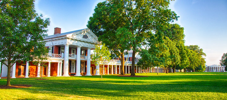 The Afternoon sun on the Lawn at the University of Virginia campus an iconic and historic university.