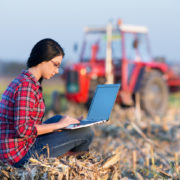 Young woman with laptop sitting on the bale on the field. Tractor in background